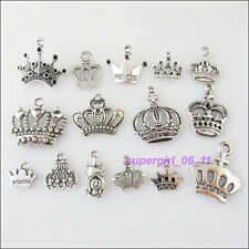 15Pcs Mixed Tibetan Tibetan Silver Tone Crown Charms Pendants