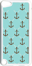 Aqua and Brown Faith Anchor Design on iPod Touch 5th Gen 5G White TPU Case Cover