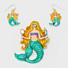 Mermaid Necklace Pendant Earrings Set Sea Life Chunky Unique Metal Beach Jewelry