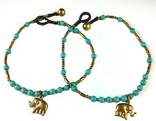 Gypsy Anklet Bronze Elephant Charm Gold Bells Turquoise Color Beads  26cm BoHo