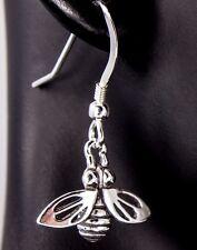Honey Bee Earrings Antiqued .925 Sterling Silver Fashion Dangle iDu Jewelry