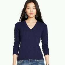 Women's Polo Ralph Lauren Cabled 100% Cashmere V-Neck Sweater - Navy