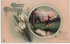 Early Easter Greetings Post Card, Sheep Grazing near Stream at Sunset, Tuck