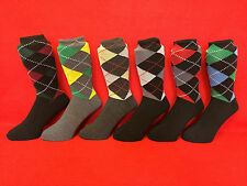 12 Pairs Of Mens/Boys Anti-Bacterial Argyle Cotton Rich Socks, UK Size 6-11