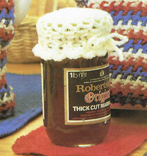 Vintage crochet pattern-how to make decorative lace jam jar, jam pot covers