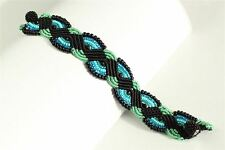BR312-133 Turquoise and Black Stunning Woven Bracelet Crystal Beads Magnetic