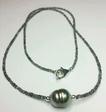 22cts Mens gray black Diamond Tahitian pearl 925 silver necklace