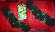 1 pair of fun novelty long socks weed motis size 6-11