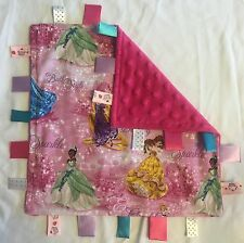 Handmade Security Tag Baby Blanket - Princess - Disney Tangled Cinderella Belle
