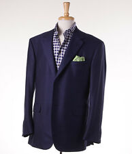 NWT $3495 OXXFORD HIGHEST QUALITY Dark Blue Woven Wool-Silk Sport Coat 44 L