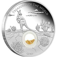 2014 $1 Treasures of the World Aust 1oz Silver Proof Locket Coin With Gold