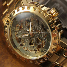 Classic Gold Roman Automatic Auto Dragon Mens Skeleton Analog Steel Band Watch
