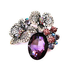 Vintage Antique Luxury Purple Diamante Crystal Corsage Bridal Brooch Pin BR183