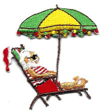 SANTA ON BEACH CHAIR - CHRISTMAS -XMAS LIGHTS -  Iron On Embroidered Patch