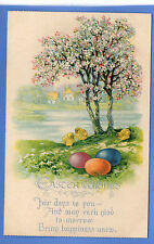 OLD VINTAGE 1933 EMBOSSED POSTCARD EASTER WISHES TREE BLOSSOM COLOURED EGGS