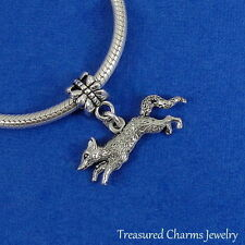 Silver Running FOX Dangle Bead CHARM fits EUROPEAN Bracelet *NEW*