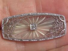 Antique Art Deco 14K FILIGREE White Gold Diamond cut glass Diana brooch pin