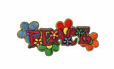 Peace Words Daisy Flowers Hippie Iron On Badge Applique Patch