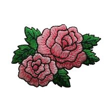 ID 6178 Pink Rose Duo Flower Garden Love Iron On Embroidered Patch Applique