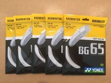 5 x PACKETS YONEX BG65 WHITE BADMINTON RACKET STRING 100% GENUINE