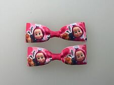 Mini Masha and the bear Hair Bows with Alligator Clips