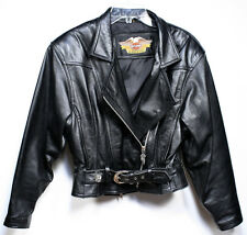 Vintage HARLEY DAVIDSON Motorcycle Jacket. Women's Black Leather Small NICE