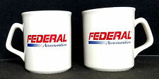 FEDERAL AMMUNITION CERAMIC ( SET of 2 ) CUPS MUGS WHITE with RED & BLUE LOGO NOS