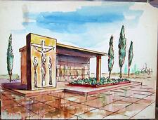 Acquerello '900 su carta Watercolor Architettura futurista cubista razionale-39