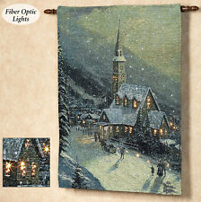 Moonlit Village Christmas Fiber Optic Tapestry Wall Hanging ~ Thomas Kinkade