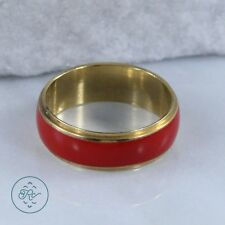 Gold Plated - 6mm Red ENAMEL Band - Ring (6)