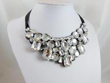 "Clear Faceted Cabochon Statement NECKLACE 36""Felt Ribbon Acrylic NWOT Lot Z152"