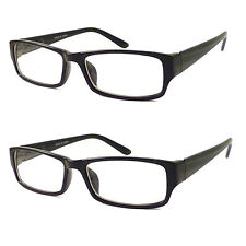 2 PCS Small Black Rectangle Smart Interview Glasses Clear Lens Geek Nerd Retro