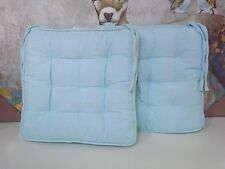 SET 6 Turquiose BLUE  Tie On Dining Kitchen Chair Pads Cushions * NWT