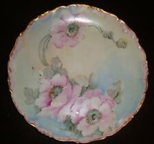 ANTIQUE LIMOGES T&V  HAND PAINTED LARGE PLATE, CHARGER, WILD ROSES, 11""