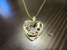 """14K VTG Yellow Gold Chain/Necklace w/ """"#1 LOVE"""" Heart Pendant 20 IN."""