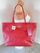 New COACH 33915 Taxi Tote Zip Top in Cross Grain Leather NWT $295 RED CURRANT