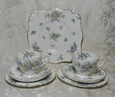 """Set da tè per 2 Tuscan China Made in England c1940 """"Forget Me Not"""" Tea Set for 2"""