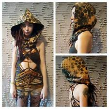 Green/yellow hexagon alien fleece hood hippy pixie psy elf boho grunge goth