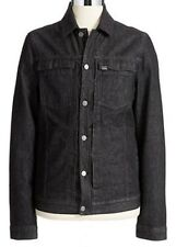 NEW CALVIN KLEIN JEANS BLACK CLASSIC JEAN DENIM TRUCKER JACKET WOOL COLLAR SZ L