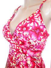 Womens Vtg Boned Summer Holiday Jersey Floral Pattern Strappy Dress sz L AH28