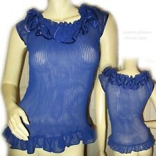 SHEER Dark BLUE Electric Plated RUFFLE NECK Cap Sleeve Summer Womens TOP S $65