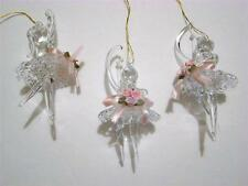 SET OF 3 SPUN GLASS BALLERINA CHRISTMAS ORNAMENTS~NEW