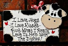 White Sign COW Hugs~Kisses~Dishes KITCHEN Country Barnyard Wall Decor Plaque
