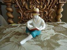 Hollohaza HUNGARY Porcelain Figurine BOY reading