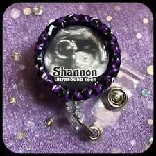 ULTRASOUND Baby RN PERSONALIZED Name Bottle Cap ID Badge Holder Lanyard Clip