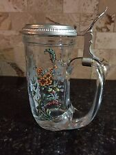 West German Glass and Pewter Lidded Beer Stein  - Mint Condition