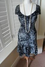 Marks and Spencer Per Una Black Cream Embroidered Occasion Dress size 14 VGC