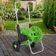 50m 60m Garden Hose Pipe Reel Holder Trolley Cart Portable Wheeled Free Standing