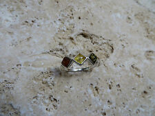 Size 7 Genuine Multicolor Baltic Amber Ring in 925 Sterling Silver #0373