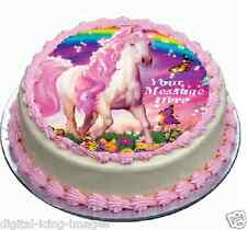 Pink horse butterflies rainbow Cake topper edible  image icing  REAL FONDANT